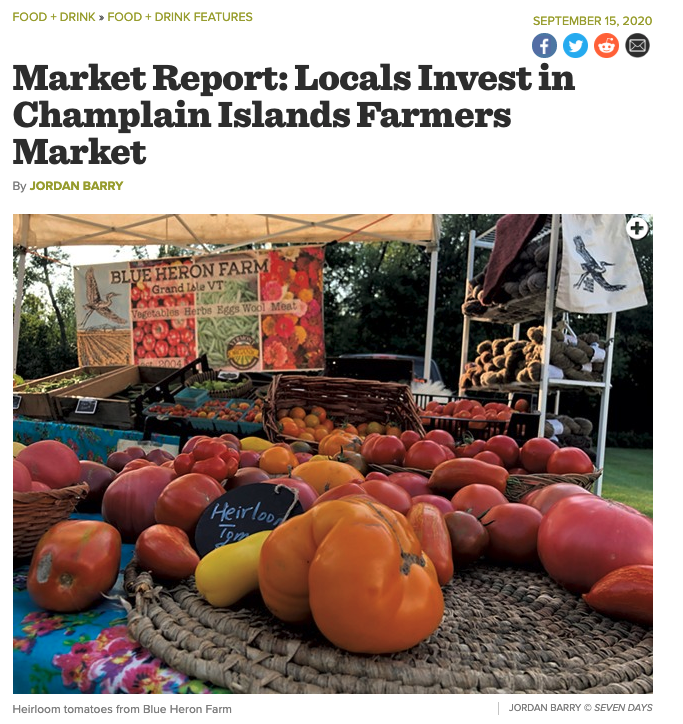 Blue Heron Farm at Farmers Market featured in Seven Days